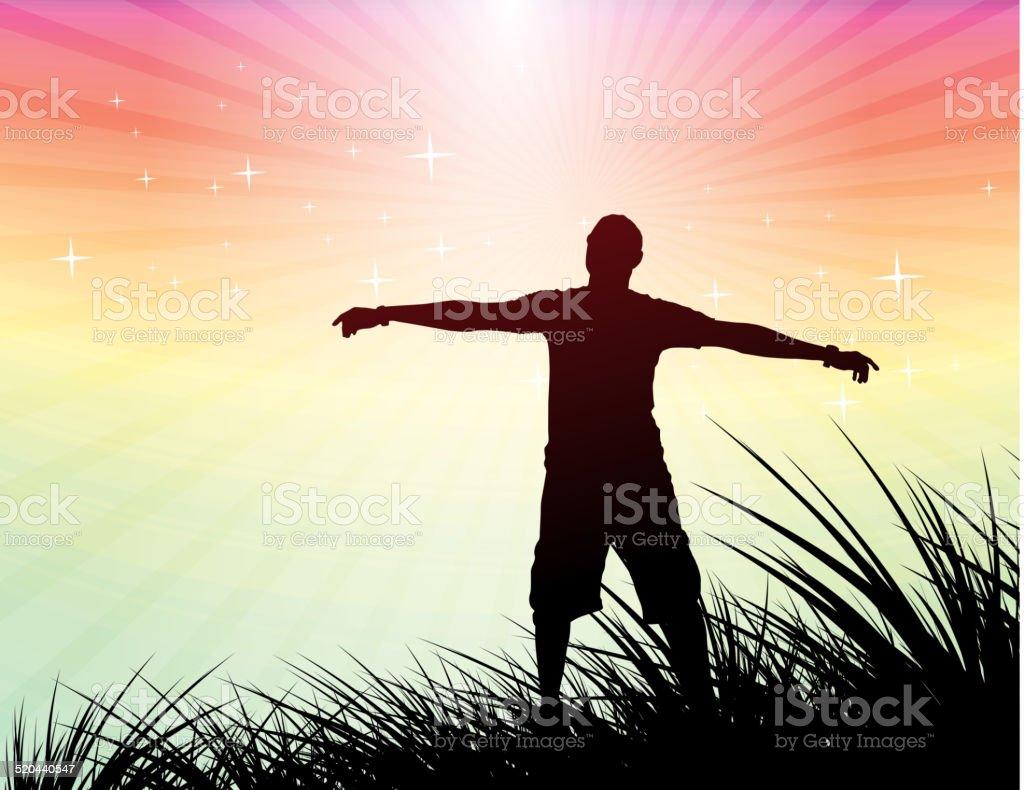 man raising his hand vector art illustration