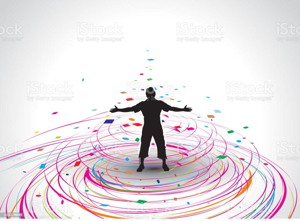 man raising his hands vector art illustration