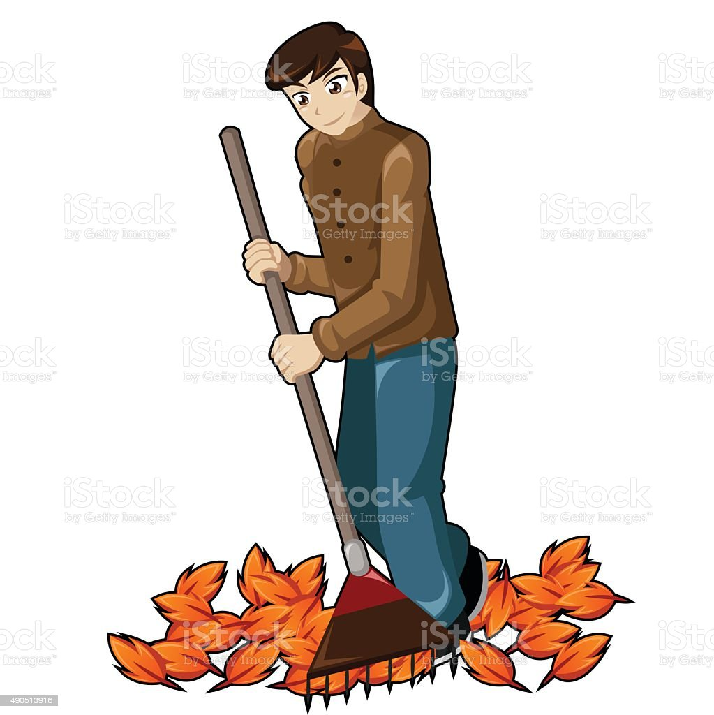 Hombre rastrillaje hojas illustracion libre de derechos libre de derechos