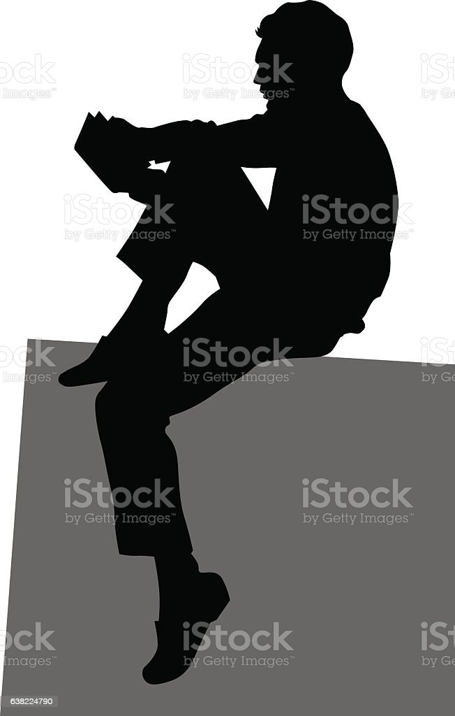 Man reading a book vector art illustration