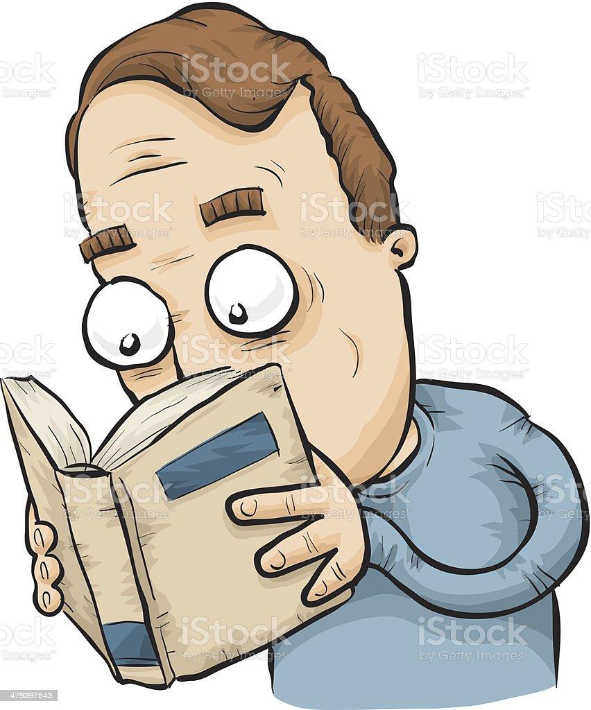 Man Reading Book vector art illustration
