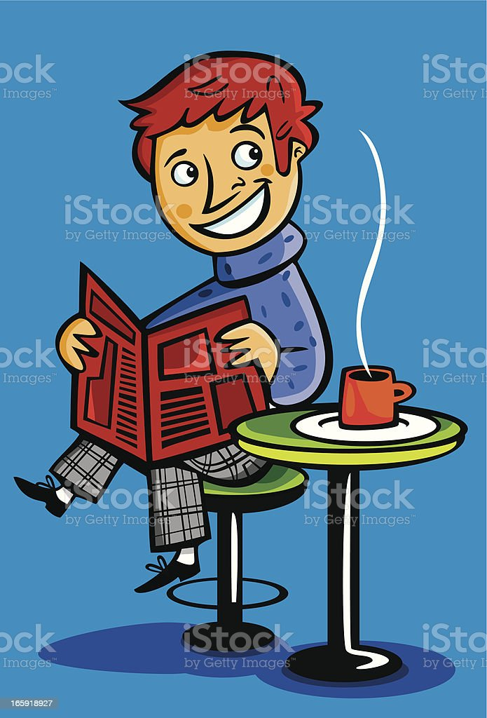 Man reading the newspaper and drinking coffee. royalty-free stock vector art