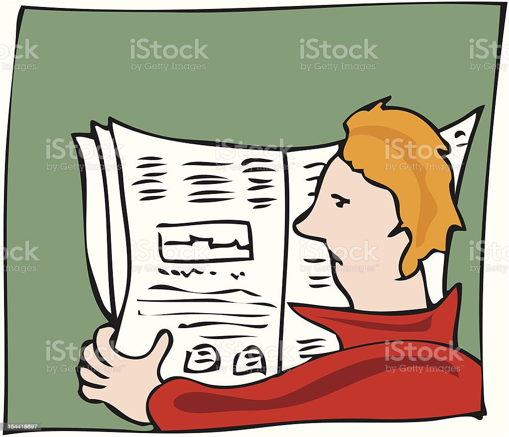 man reading the  newspaper royalty-free stock vector art