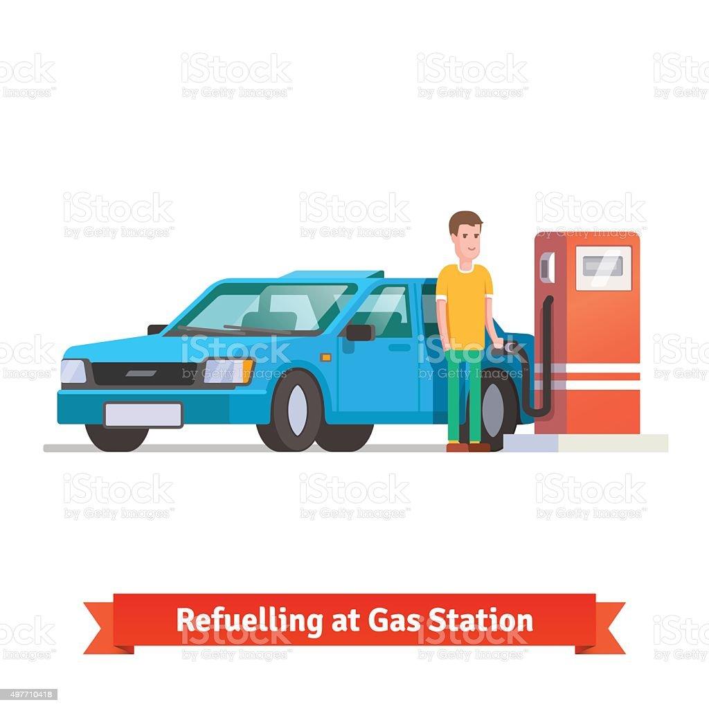 Man refuelling his car at petrol station vector art illustration