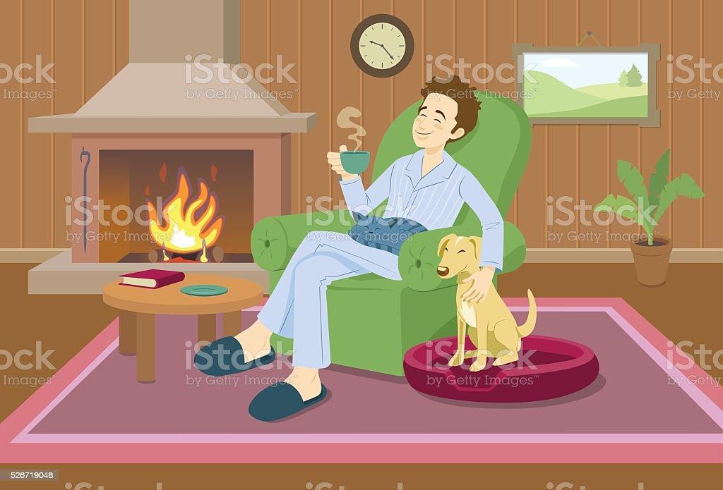 Man relaxing at home vector art illustration