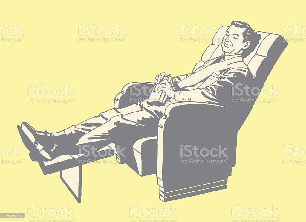 Man Relaxing in Recliner vector art illustration