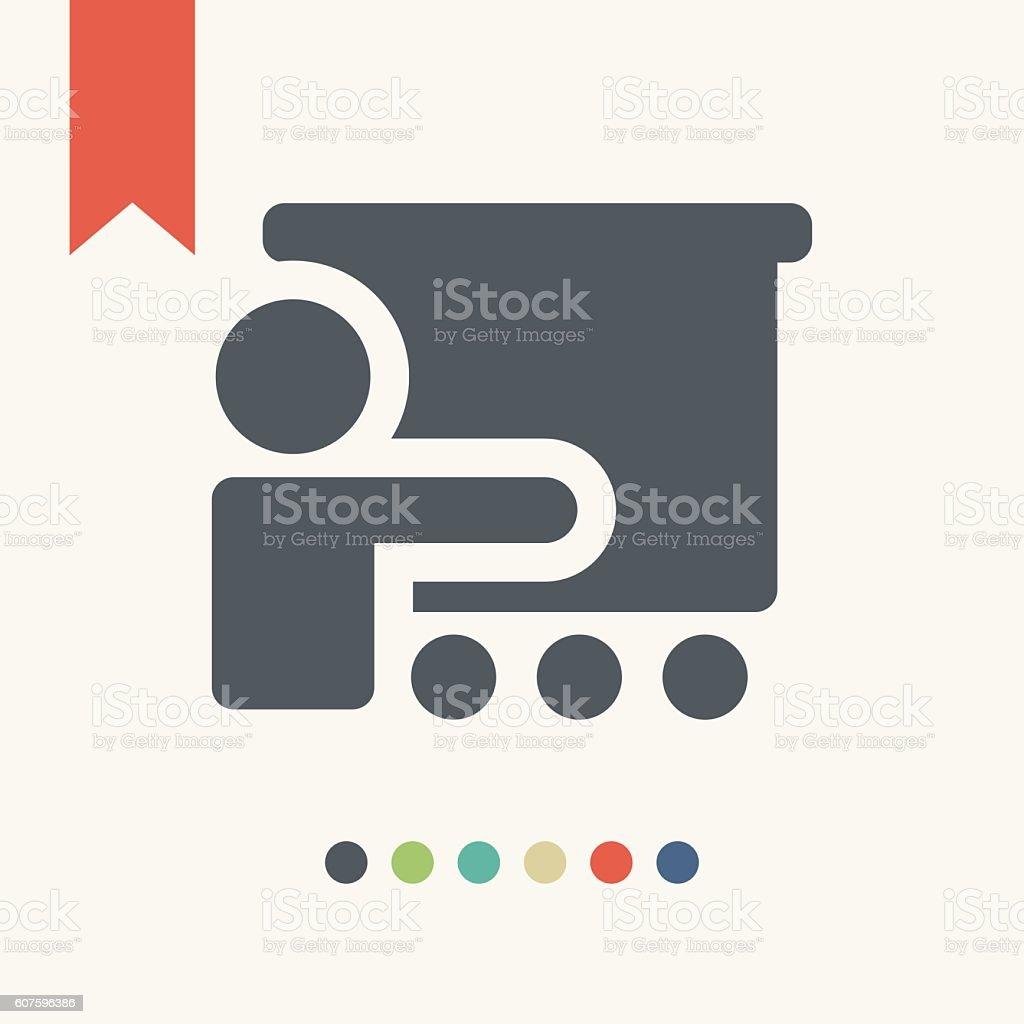 Man reporting at presentation icon vector art illustration