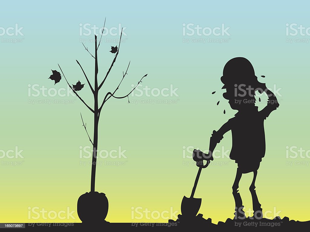 Man resting from the effort of planting a tree royalty-free stock vector art