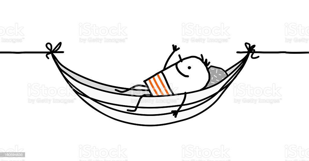 man resting in a hammock vector art illustration