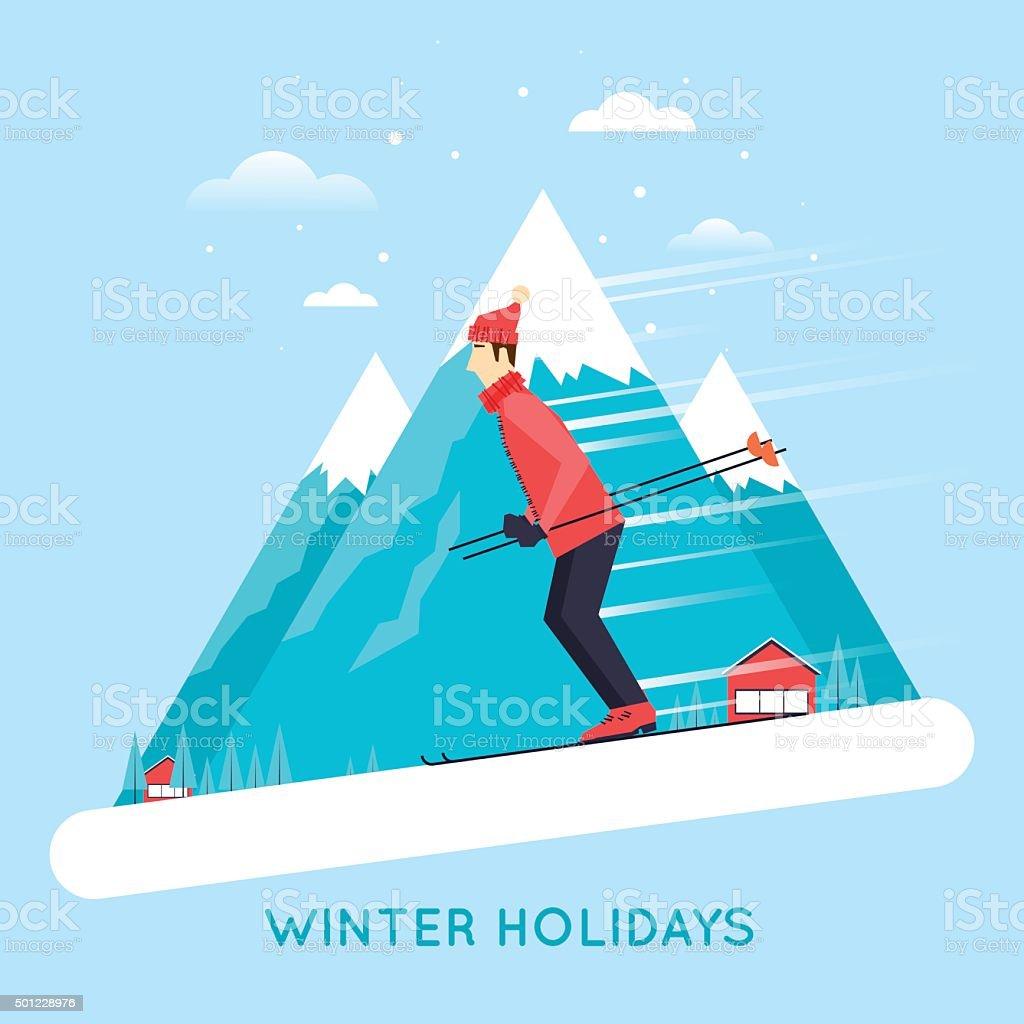 Man rides on the ski mountain. vector art illustration