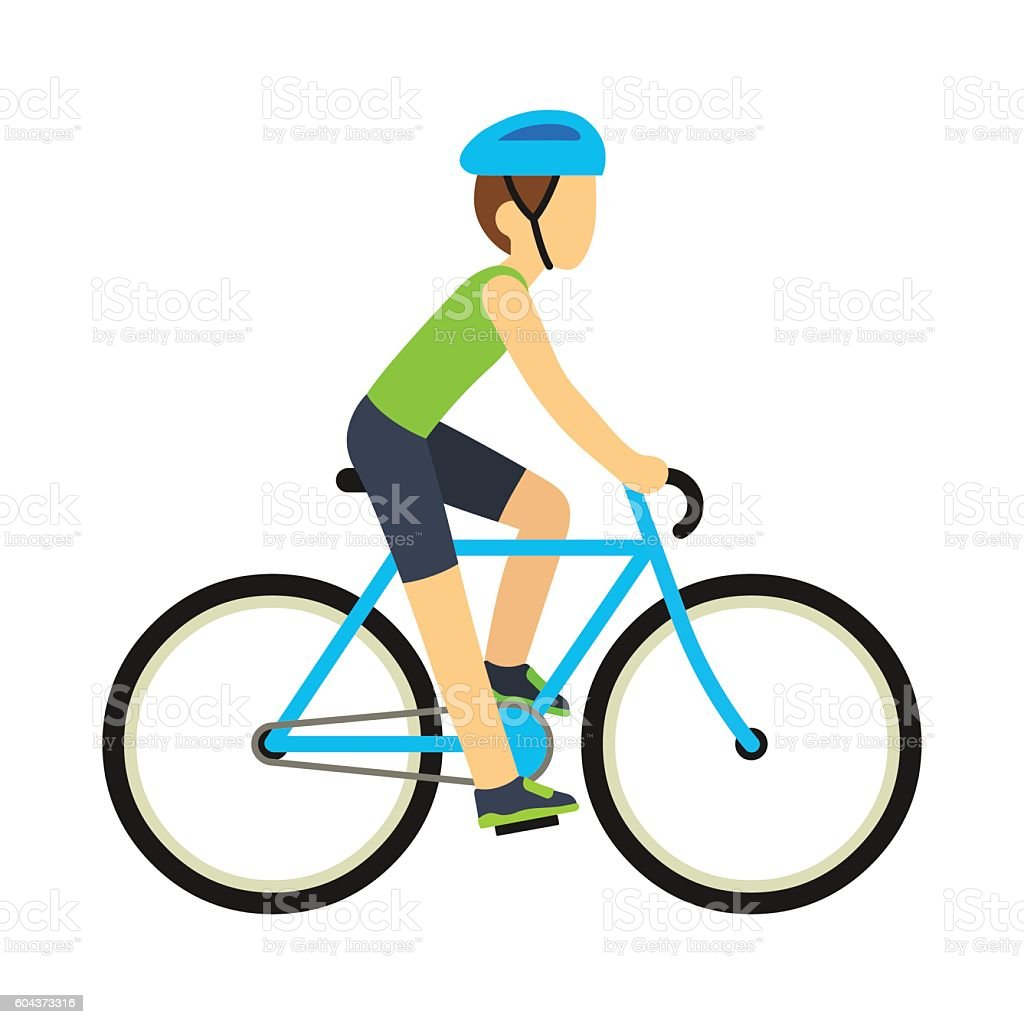 Man Riding Bicycle stock vector art 604373316 | iStock