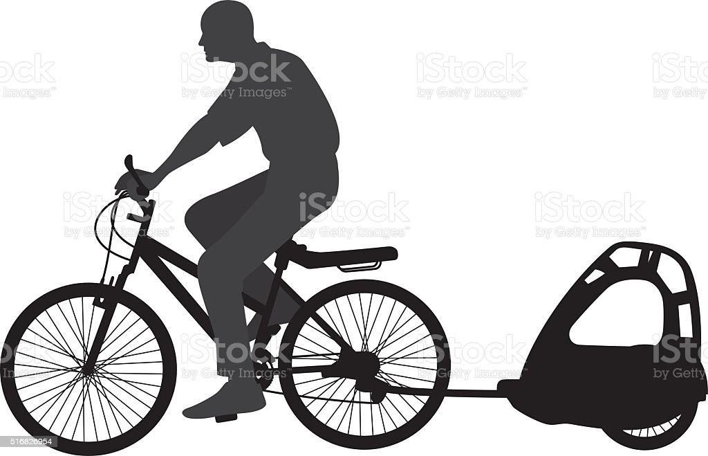 Man Riding Bicycle with Carriage Silhouette vector art illustration