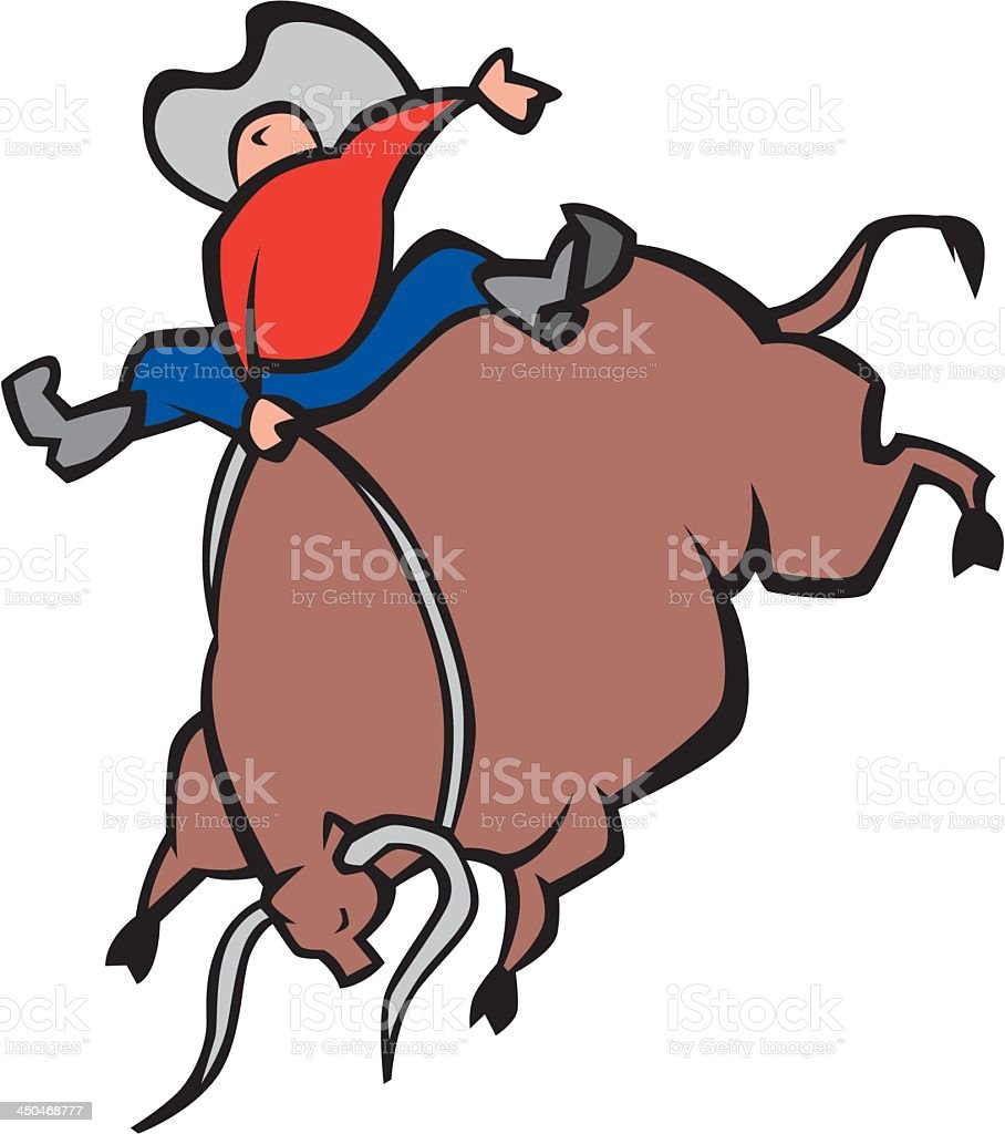 Man Riding Bull royalty-free stock vector art