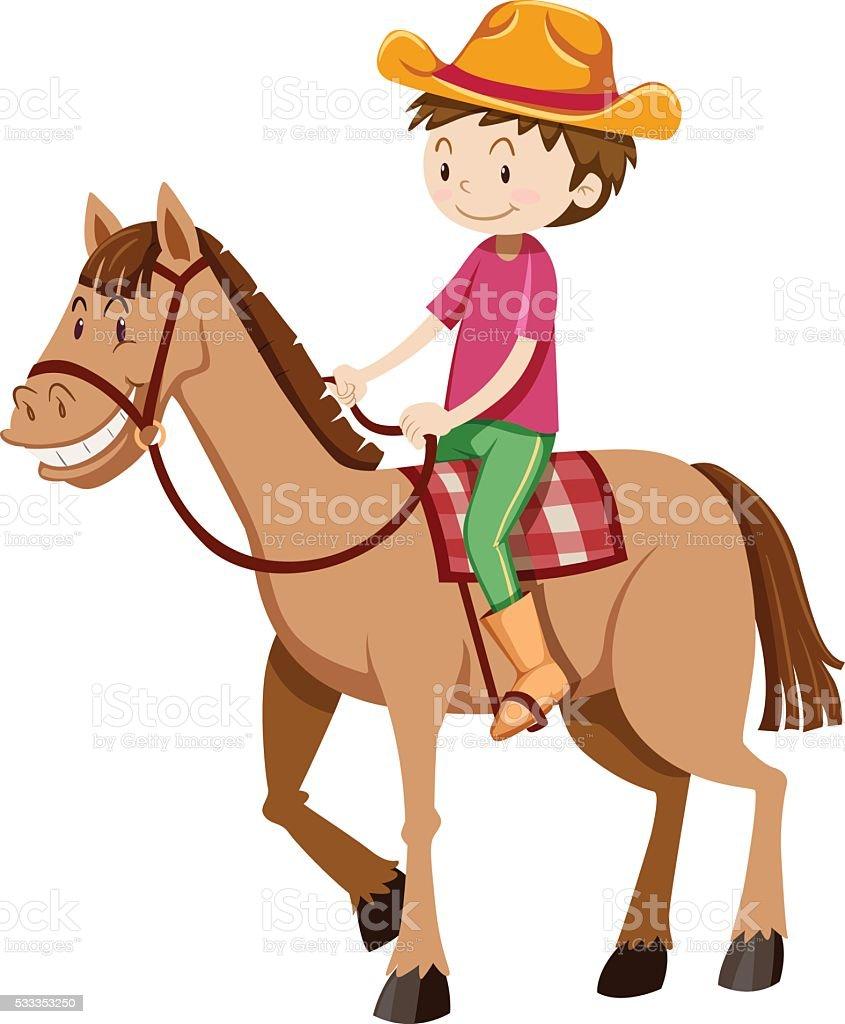 Man riding horse alone vector art illustration