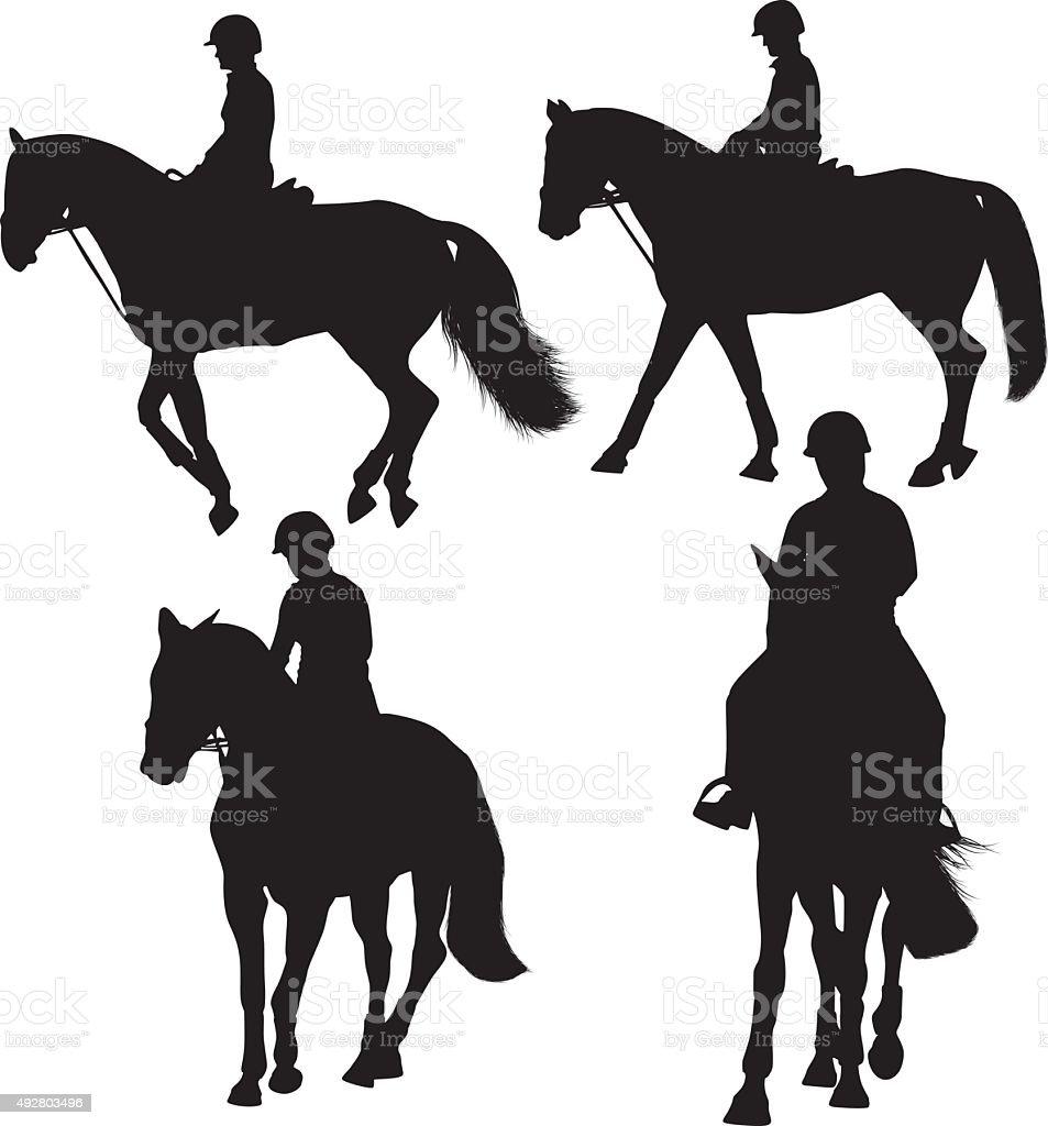Man riding horse vector art illustration