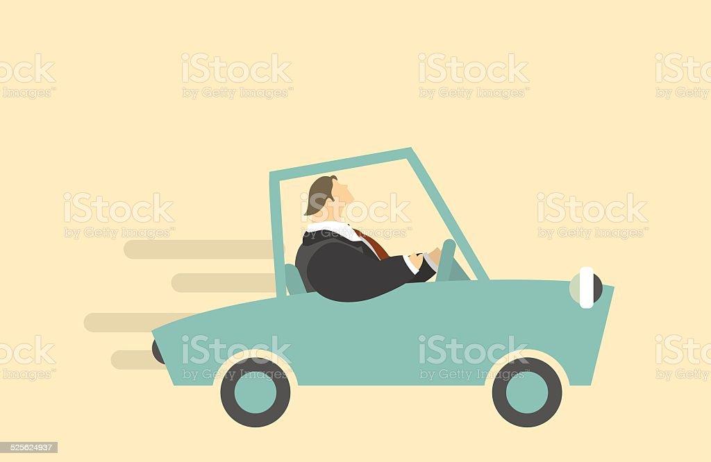 Man Riding In A Car vector art illustration