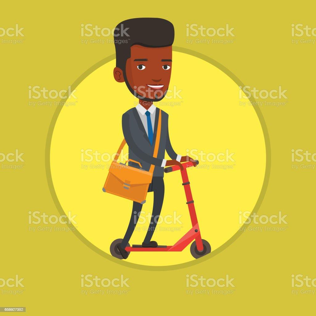 Man riding kick scooter vector illustration vector art illustration
