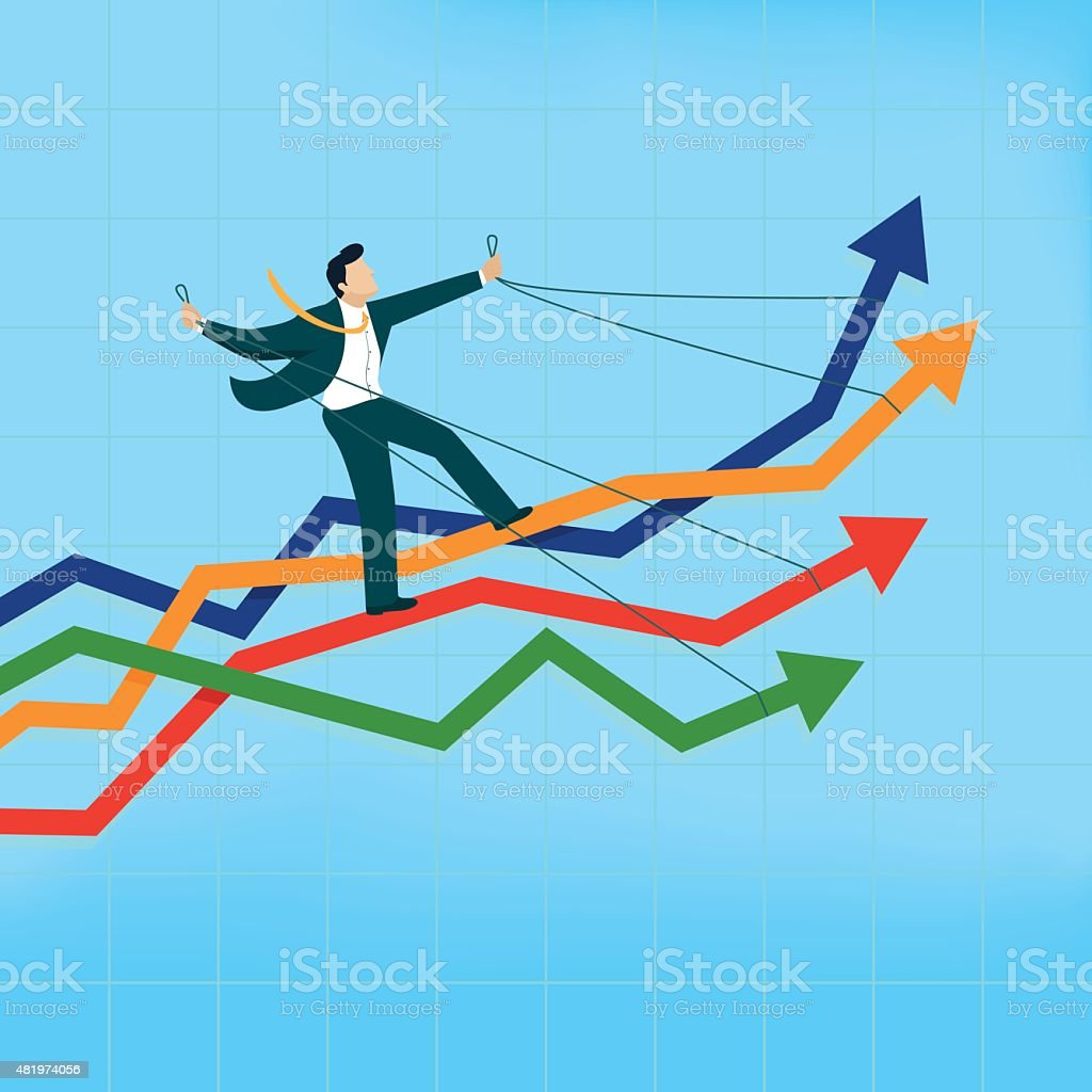 Man riding many arrows at the same time vector art illustration
