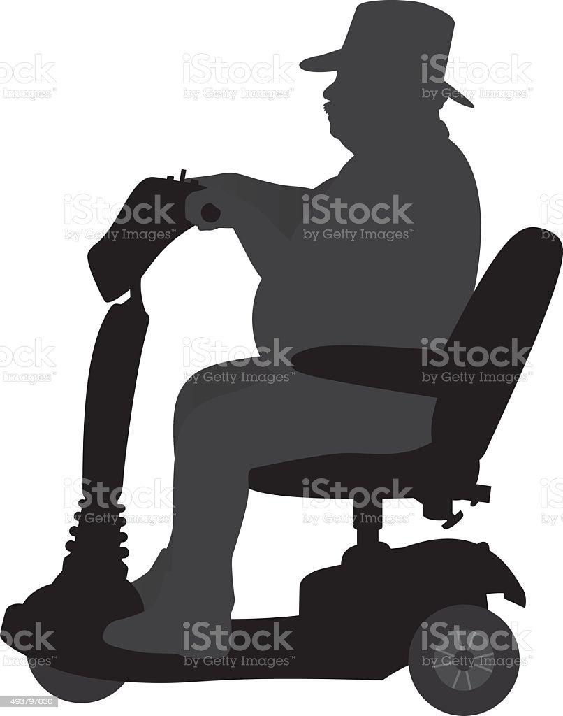 Man Riding on Handicap Scooter Silhouette vector art illustration