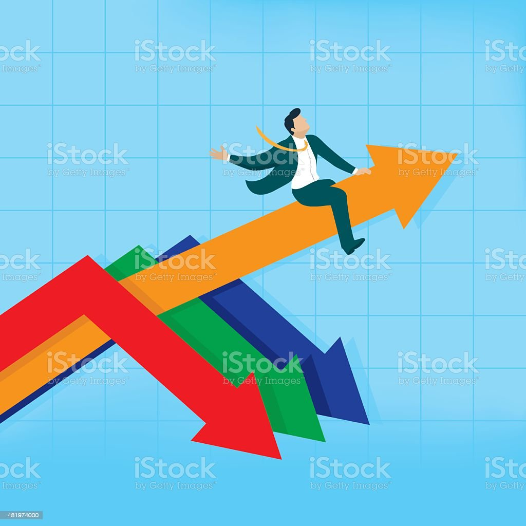 Man riding the arrow going up, while others going down vector art illustration