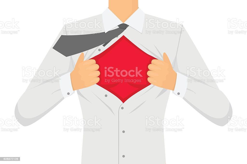Man Ripping The Shirt. Vector vector art illustration