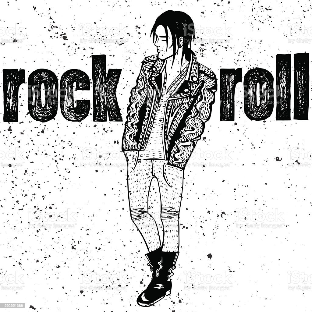 Man rock n roll style vector art illustration