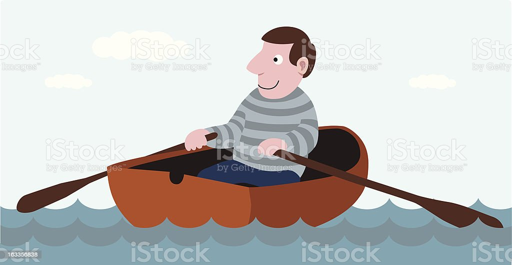 Man rowing in a rowboat vector art illustration