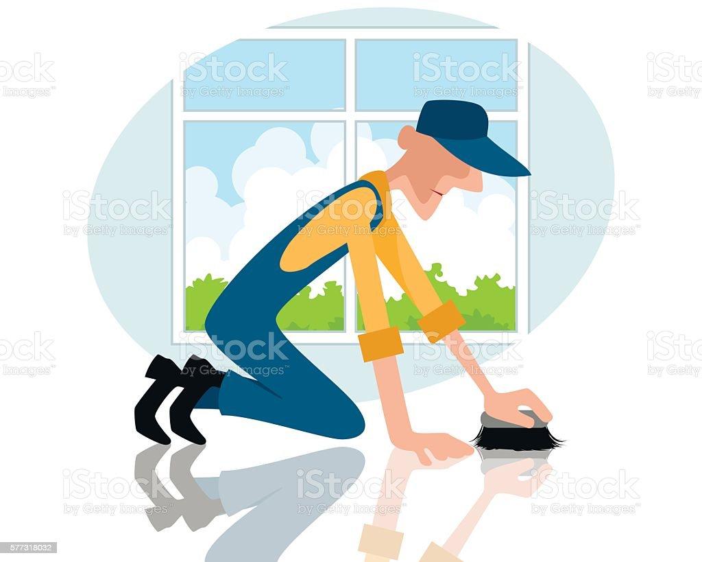 Man rubbing the floor vector art illustration