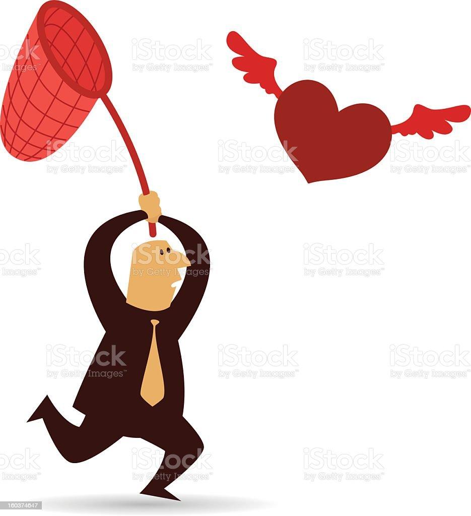 Man Running after Love vector art illustration