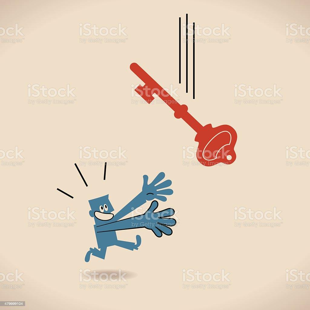 Man (businessman, hand raised) running and catching falling big key vector art illustration