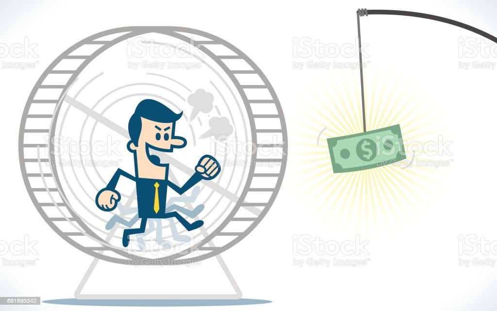 Man running in hamster wheel for catch money vector art illustration