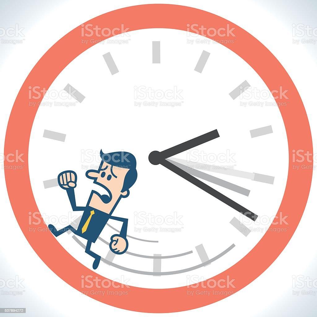Man running in the clock vector art illustration
