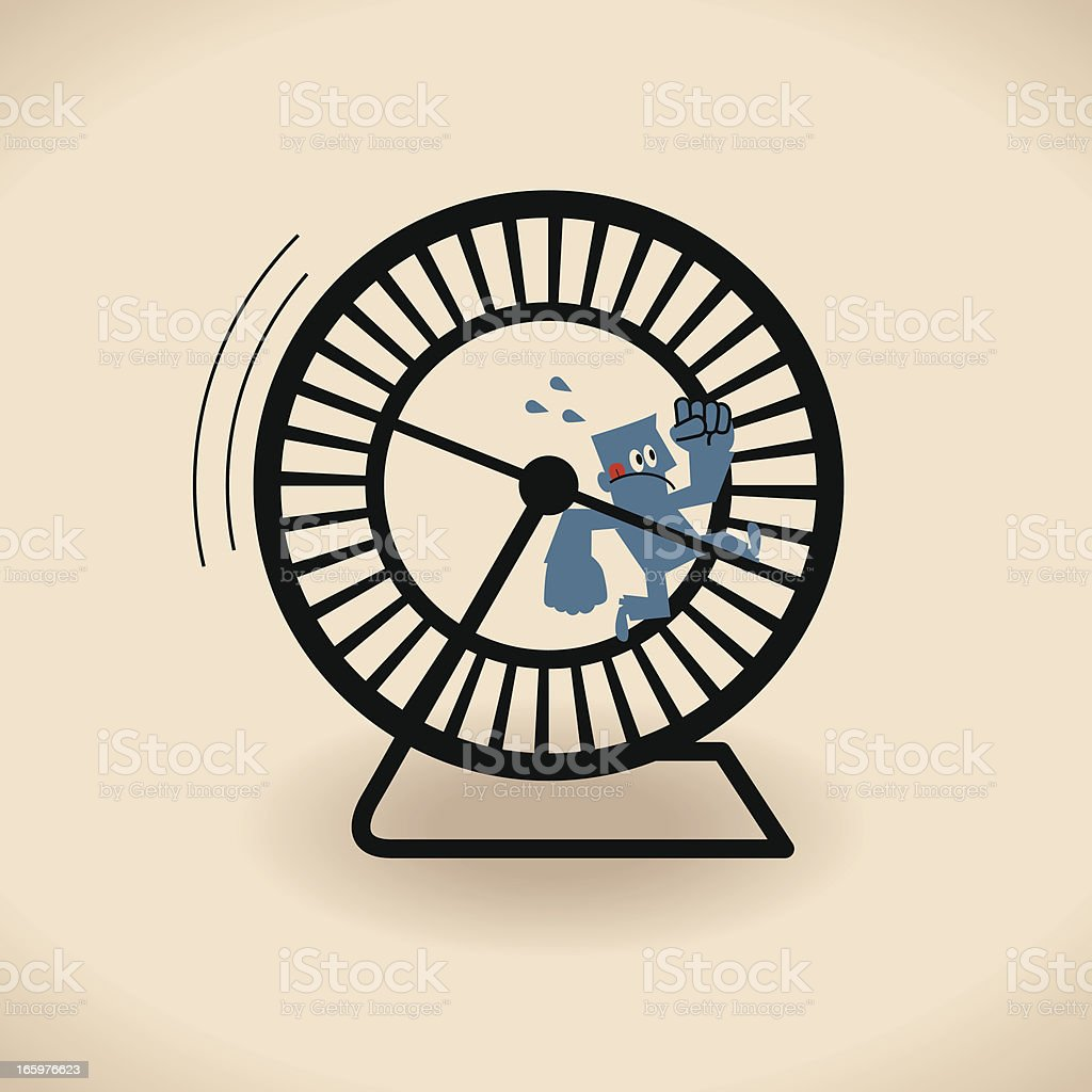 Man running in the wheel cage royalty-free stock vector art
