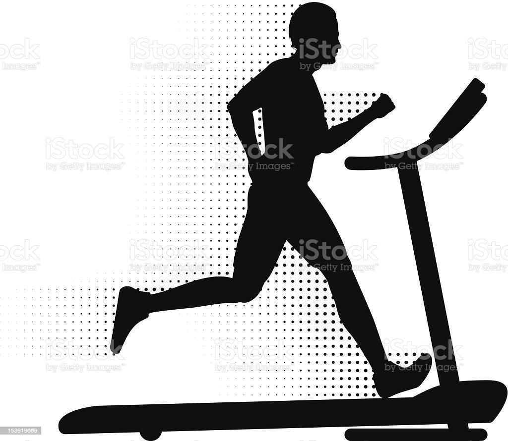 Man Running on a Treadmill vector art illustration