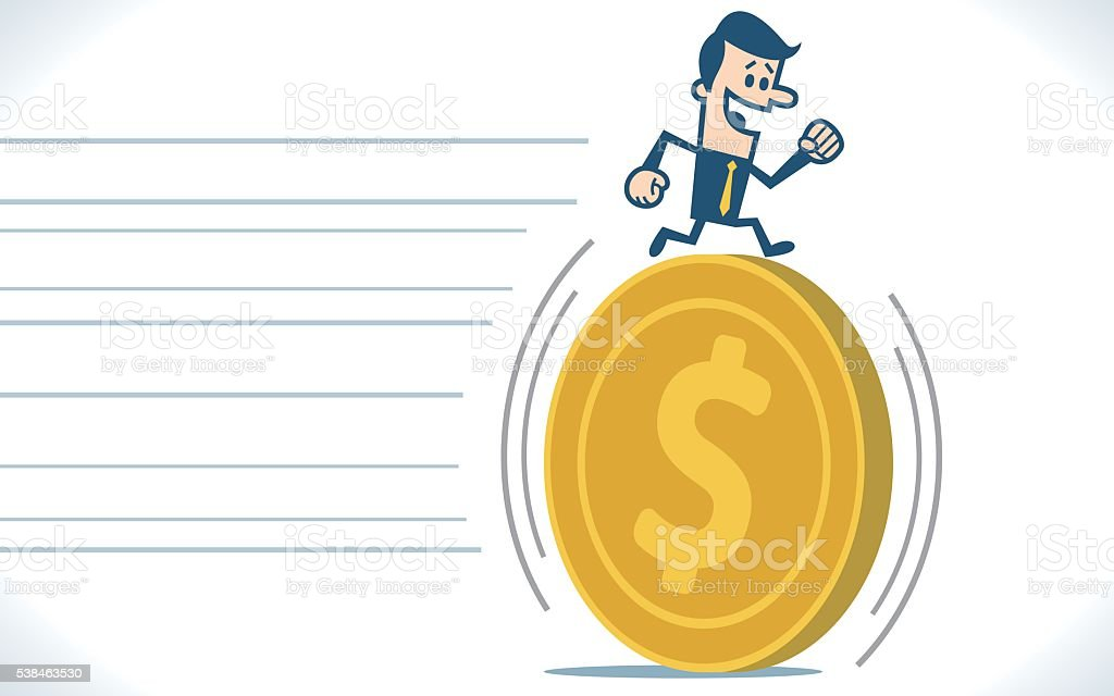 Man running on money vector art illustration