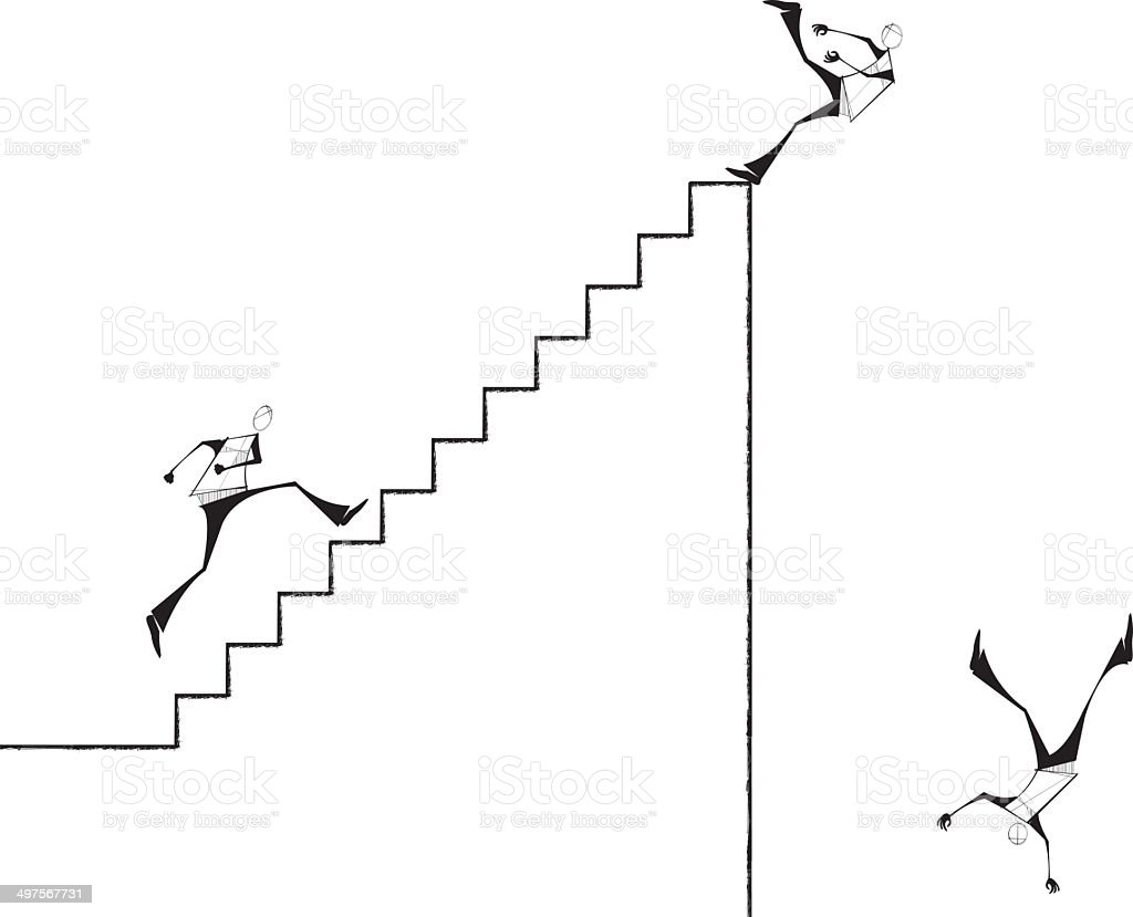 Man running Stairs and Falling Down royalty-free stock vector art