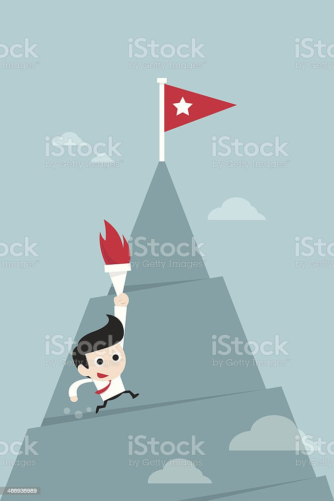 man running to top royalty-free stock vector art