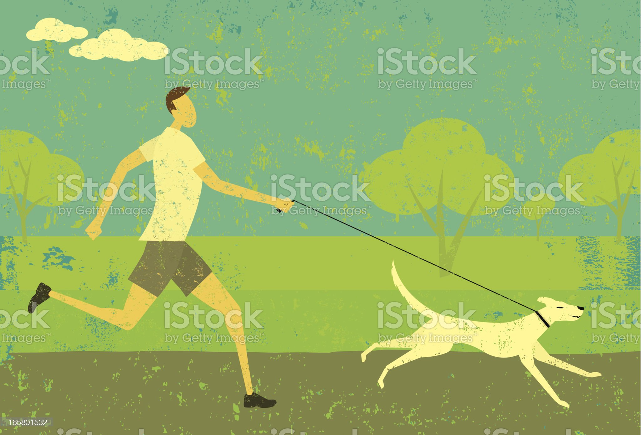 Man running with dog royalty-free stock vector art