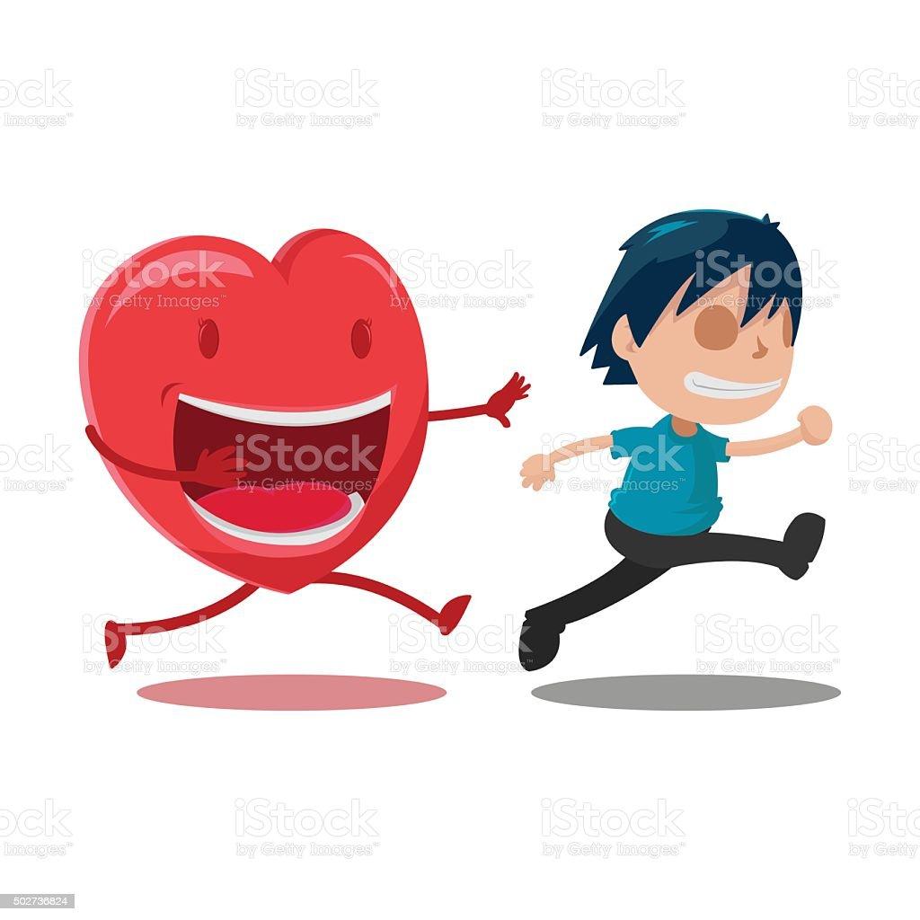 Man Scarper Love Cartoon Character Vector vector art illustration