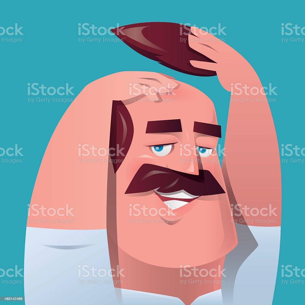 man scratching head vector art illustration