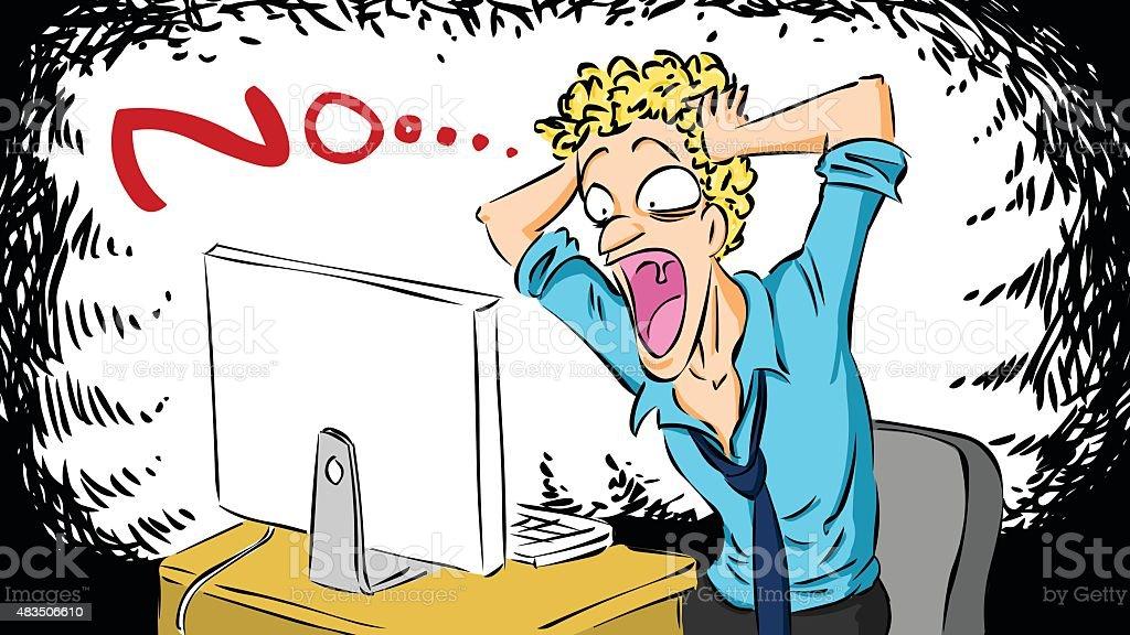Man Screaming when Computer Crash vector art illustration