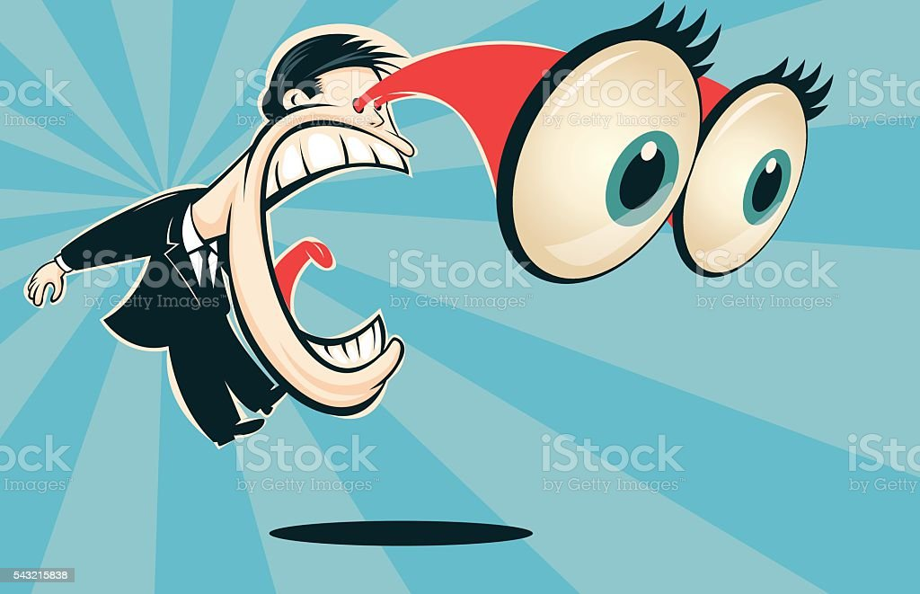 Man screaming with bulging eyes vector art illustration