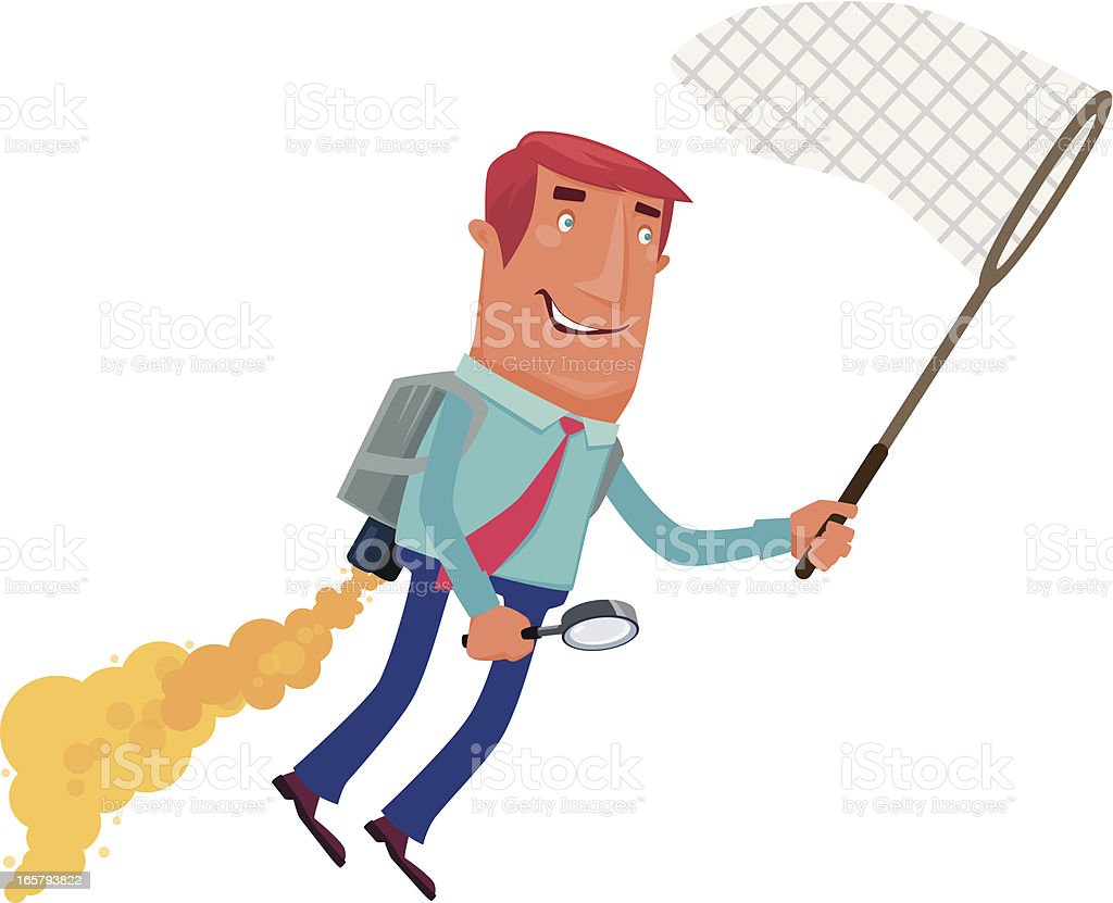 man searching and catching vector art illustration