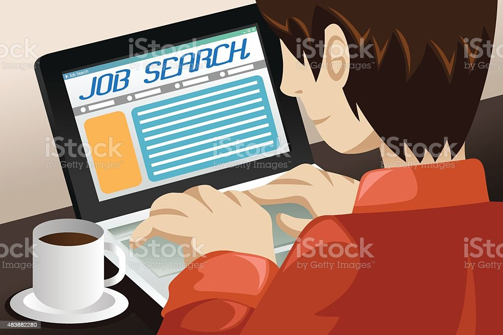 Man Searching for a Job Online vector art illustration