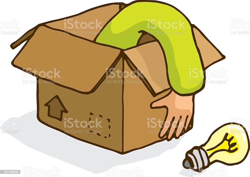 Man searching for an idea thinking outside the box vector art illustration