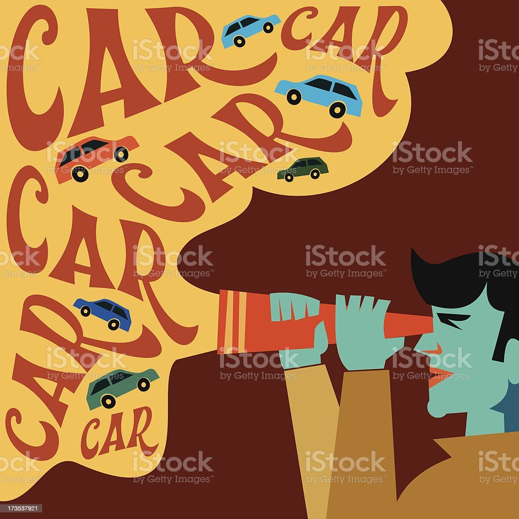 man searching for new car royalty-free stock vector art