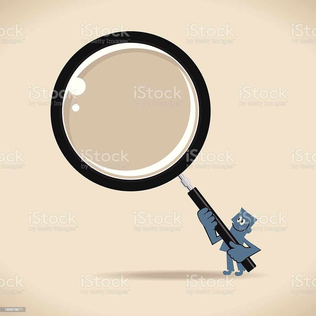 Man Searching with Magnifying Glass royalty-free stock vector art