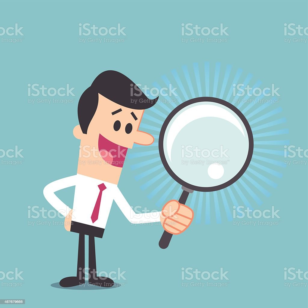 Man searching with magnifying glass vector art illustration