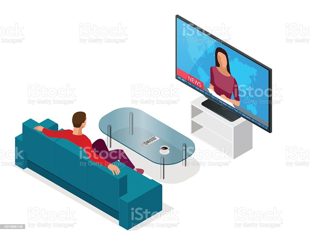 Man seated on the couch watching tv vector art illustration