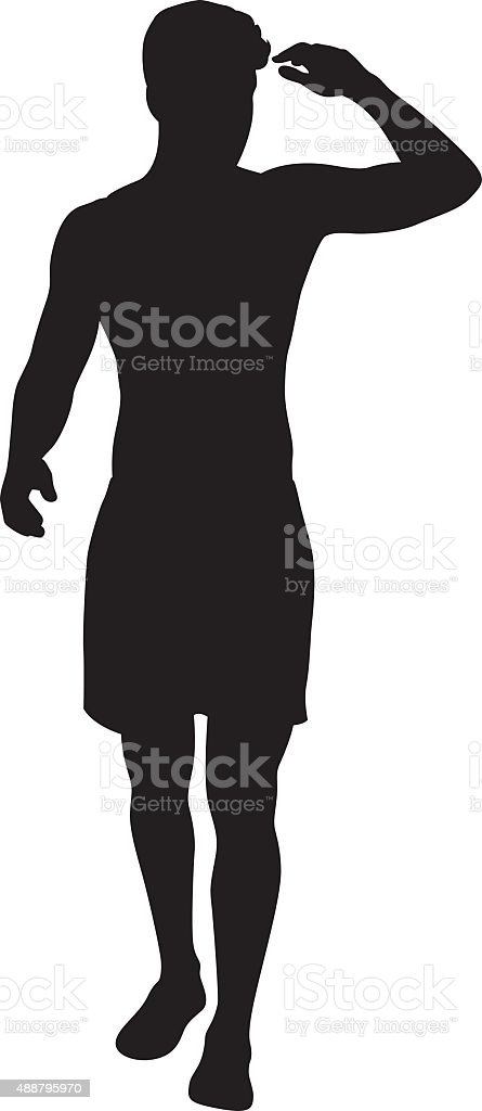 Man Shading Eyes with Hand Silhouette vector art illustration